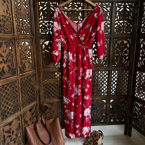 Red floral maxi dress with v neck